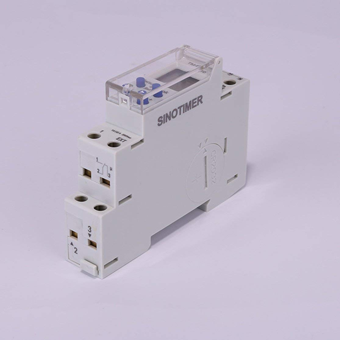 Color:White 110V TM610 1P 18MM M/ódulo /único Riel DIN LCD Digital 7 d/ías 24 horas Interruptor temporizador programable Kaemma SINOTIMER 220V