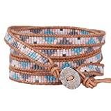 KELITCH Crystal on Gray Leather Charm 5 Wrap Bracelet Handmade New Top Jewelry21