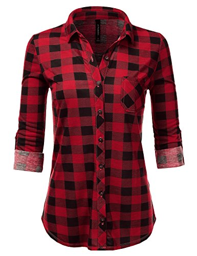 JJ Perfection Womens Long Sleeve Collared Button Down Plaid Flannel Shirt REDBLACK S