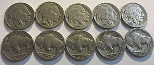10 Varies Buffalo Nickels Dates 1930-1938 Fine Full Dates Come in Velvet Bag GREAT STARTER SET (Buffalo Nickel)