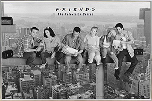 Friends- Black & White  Poster in a Silver Metal Frame 36 x