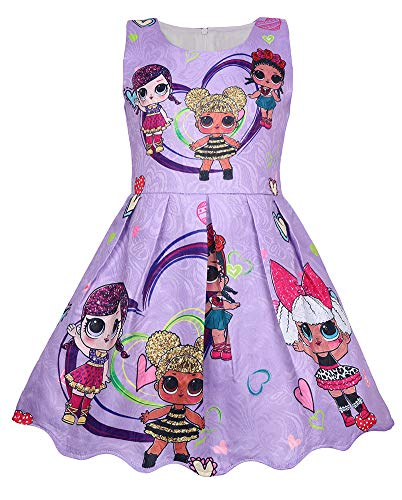 WNQY Girls Surprise Princess Costume Doll Digital Print Party Gown Dress for Doll Surprised (120/5T,Purple)]()
