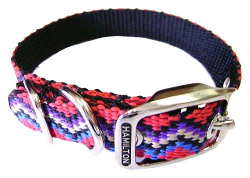 Hamilton 5/8 Inch x 18 Inch Single Thick Nylon Weave Deluxe Dog Collar, Multi Colored Weave Pattern