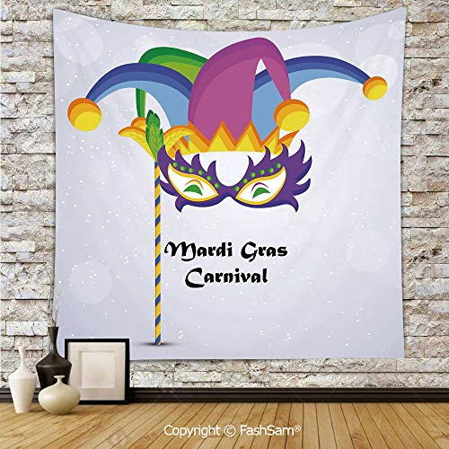 FashSam Tapestry Wall Blanket Wall Decor Mardi Gras Carnival Inscription with Traditional Party Icons Clown Costume Hat Decorative Home Decorations for Bedroom(W39xL59) -