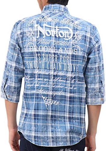 シャツ 6分袖 インディゴ チェック 192N1506
