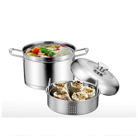 Doble Fondo Vaporera 304 de Acero Inoxidable Olla de Sopa Gruesa Olla de Cocina Hogar Cocina