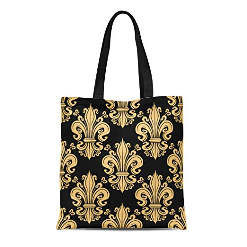 Semtomn Cotton Canvas Tote Bag Gorgeous Golden Fleur De Lis Pattern Over Floral Heraldic Reusable Shoulder Grocery Shopping Bags Handbag Printed
