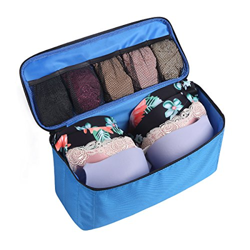 St. Jubileens Bra Underwear Storage Bag Foldable Luggage Travel Organizers Toiletry Packing Cube Blue
