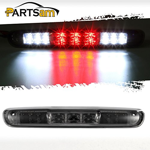 Partsam For 2007-2013 Chevrolet Silverado GMC Sierra 1500 2500 3500 2014 Classic Model Red/White LED Smoke Lens High Mount 3rd Third Brake Light Cargo Tail Lamp