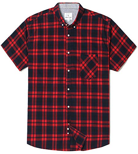 Chain Stitch Mens Short Sleeve Check Button-Down Collar Casual Plaid Shirt Red/Navy Plaid X-Large