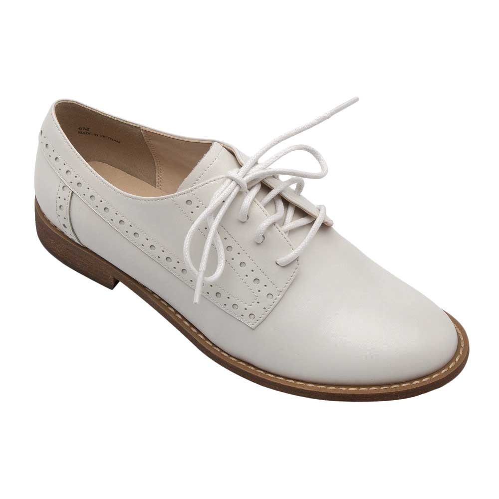 PIC/PAY Jamie Women's Oxford - Classic Lace-up Oxford Shoe White Leather 8M