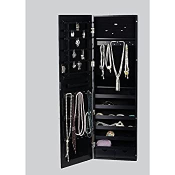 BTEXPERT Premium HandMade Wooden Jewelry Armoire Cabinet Wall mount Over Door Hanger Safe Locking Organizer Storage Cheval Mirror Store Rings, Holder, Necklaces, Earrings Organizer, Key lock Black
