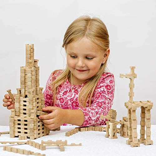 Toy Wooden Blocks for Kids 60pc Educational Creative Fun Family Games Natural Wooden Building Blocks Set to Build Wooden Guard Ship Helicopter or Sailboat Model Wooden Letters Numbers