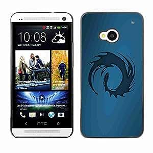 Planetar® ( Blue Tribal Dragon ) Fundas Cover Cubre Hard Case Cover HTC One (M7)