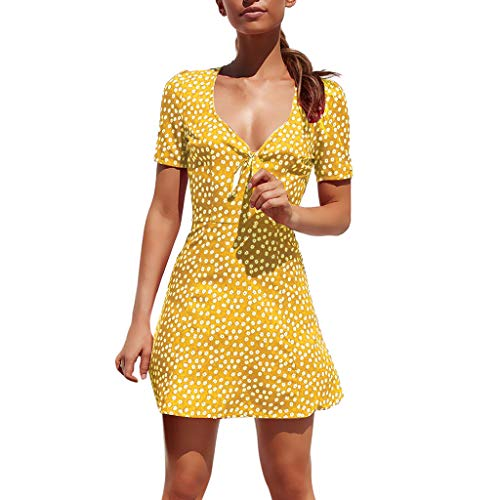 Farmerl Womens Summer Mini Dress Bodycon Short Sleeve Beach Party Dot Sundress Yellow ()