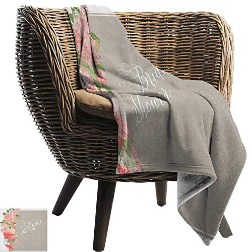 AndyTours Cool Blanket,Bridal Shower,Lilacs Orchids with Leaves Corner Frame Bride Floral Arrangement, Salmon Green and Beige,for Bed & Couch Sofa Easy Care ()