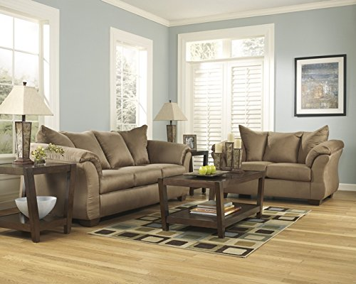 2 pc Darcy collection Mocha microfiber fabric upholstered sofa and love seat set with flared arms