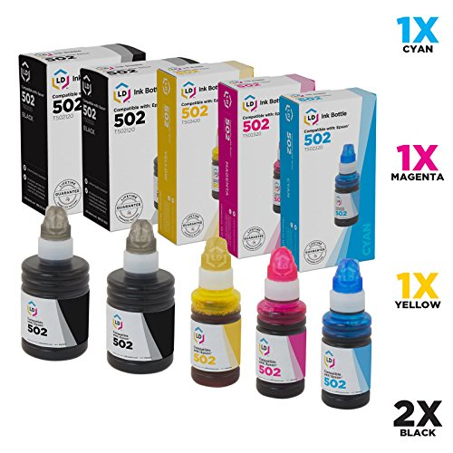 LD Compatible Ink Bottle Replacement for Epson 502 (2 Black, 1 Cyan, 1 Magenta, 1 Yellow, 5-Pack)