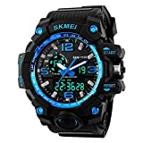 BesWLZ Men Large Dual Dial Analog Digital Quartz Multifunction 50M Water Resistant Watches (Blue)