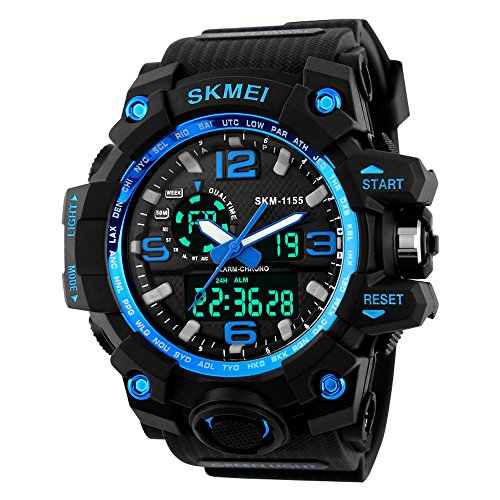 Mens Analog Blue Dial - BesWLZ Men Large Dual Dial Analog Digital Quartz Multifunction 50M Water Resistant Watches (Blue)