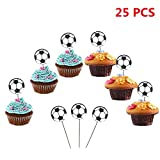 World Cup Funky Soccer Cupcake Toppers 2018 FIFA Russia Soccer Fans Party Picks, Football Birthday Party Cake Dessert Decoration Supplies (Soccer)