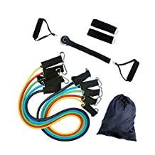 ULT-unite Resistance Band Set - 5 Stackable Exercise Bands - with Door Anchor, Handles, Ankle Straps - Stackable Up To 100lbs - For Resistance Training, Physical Therapy, Home Workouts
