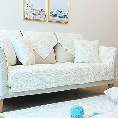 Sofá de algodón tapete de Tela cojín de Color sólido ...