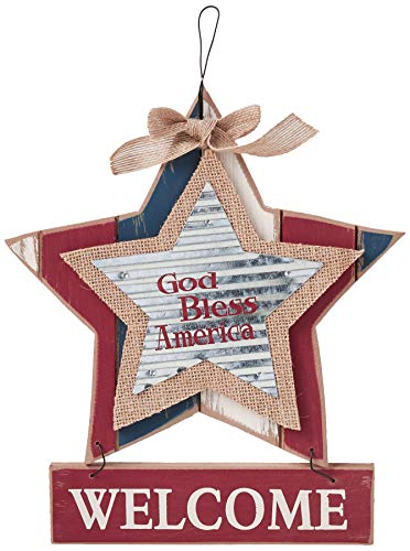 """Sheerlund Products 11"""" God Bless America Wood Star Welcome Wall/Front Door Hanging Sign, Red, White & Blue"""