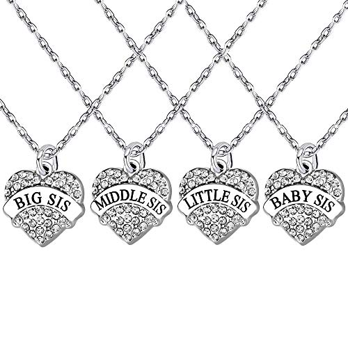 lauhonmin 4pcs Big Middle Little Baby Sister Love Heart Pendant Necklace Set Family Jewelry Gift for Women Girl