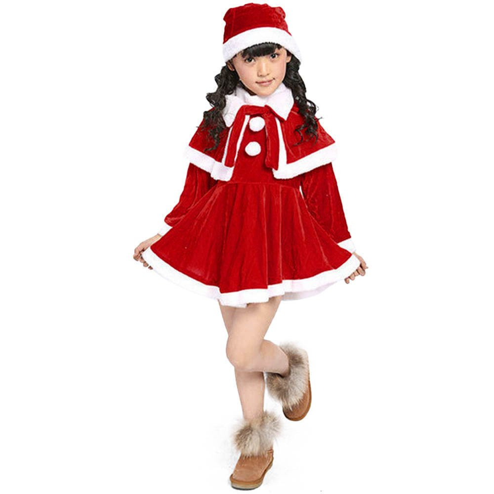 Sumen Kids Girls Xmas Costume Red Velvet Party Dresses with Santa Hat and Shawl 3PCS Outfit Sumen-1569