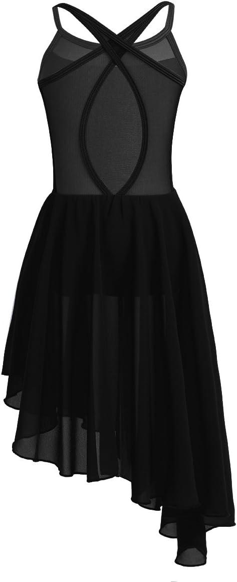 inhzoy Womens Lyrical Modern Ballet Dance Dress Single Long Sleeve with Fingertip Asymmetric Leotard