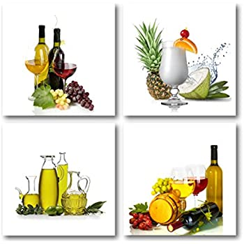 The Decor Shop   Canvas Prints Wine Bottle And Fruits Photos On Canvas Wall  Art Stretched