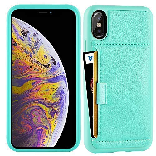iPhone Xs Max Wallet Case, ZVE iPhone Xs Max Case with Credit Card Holder Slot Slim Leather Pocket Protective Case Cover for Apple iPhone Xs Max, 6.5 inch (Aries Series)- Mint Green