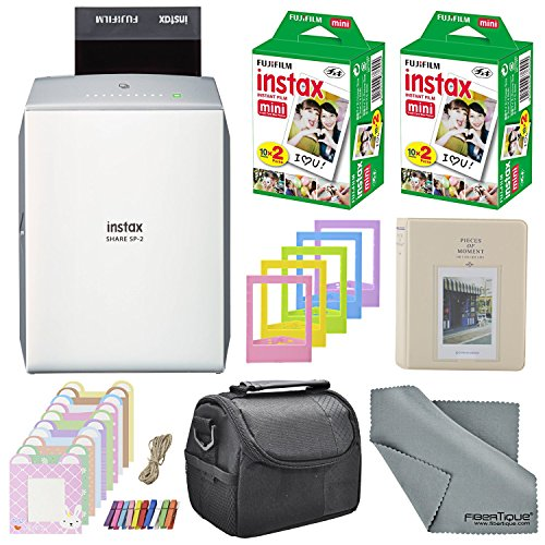 Fujifilm Instax SHARE Smartphone Printer SP-2 w(Silver)/ 40 Sheets Instax Mini Instant Film, Photo Album, Mini Photo Frames, Paper Photo Frame, Small Case. and FiberTique Cleaning Cloth by Xpix
