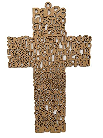 Cruz del Padre Nuestro Unpainted Wood Craft - Lord´s Prayer Cross - Lords Prayer Craft