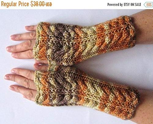 ON SALE Fingerless Gloves Brown Orange Yellow wrist warmers