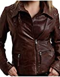Stetson Women's Moto Style Leather Jacket Brown Outerwear MD