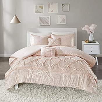 Image of 5 Piece Blush Pink Pintuck Pattern Comforter Full Queen Set, Elegant All Over Detailed Gold Shinning Dots Print, Diamond Shape Pinch Pleated Design Bedding, Abstract Soft Colors, Microfiber Polyester