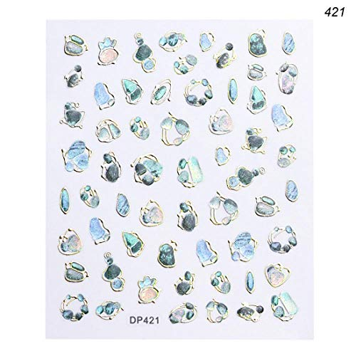 (1 Sheet Charm Gold 3D Nail Art Adhesive Stickers Decal Aurora Rhinestones Snowflakes Decor Manicure Nail Slider Tips TRDP413-424 DP421 )