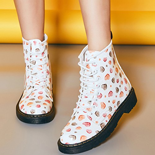 Vogstyle Damen Mädchen Stiefel Halbschaft Stiefeletten Winter Schnürstiefeletten Blumen Ankle Boots Art 6 Rot