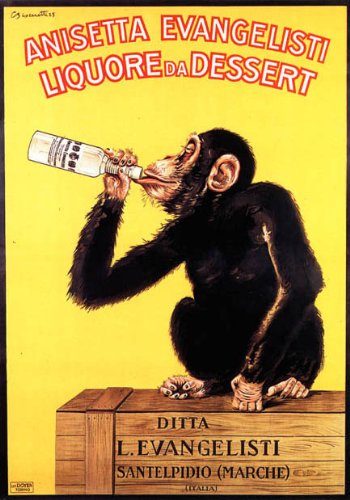 Monkey Drinking Anisetta Evangelisti Liquor Dessert Italy Large Vintage Poster Repro