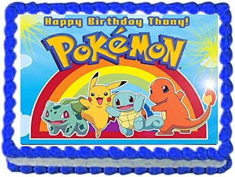 Terrific Amazon Com Pokemon Pikachu Birthday Party Edible Image Cake Personalised Birthday Cards Bromeletsinfo