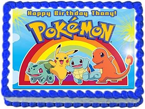 Pokemon Pikachu Birthday Party Edible image/Cake Topper 1/4 sheet Frosting