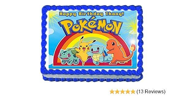 Pokemon Black White Version Edible Cake Topper Frosting 1//4 Sheet Birthday Party