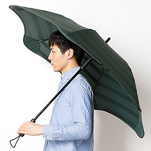 ブラント(BLUNT) 【空気力学による風に強い構造】メンズ長傘ボーダー柄(雨傘) B072MRM9CX65ダクグリン 65