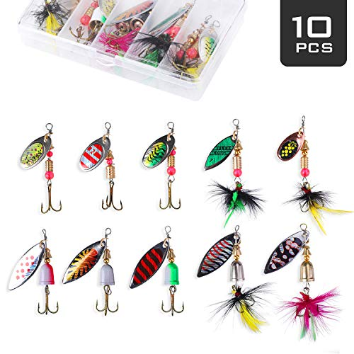 (Akataka Fishing Lures Spinner Baits 10Pcs, Bass Trout Salmon Hard Metal Baits Fishing Lure Kit Set, Freshwater Saltwater Fishing Lures with Tackle Box (Style C))