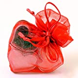 Blingy Barely Tinted Lip Gloss Gift of 3 Heart Shaped Pots in Pretty Red Heart-Shaped Organza Bag