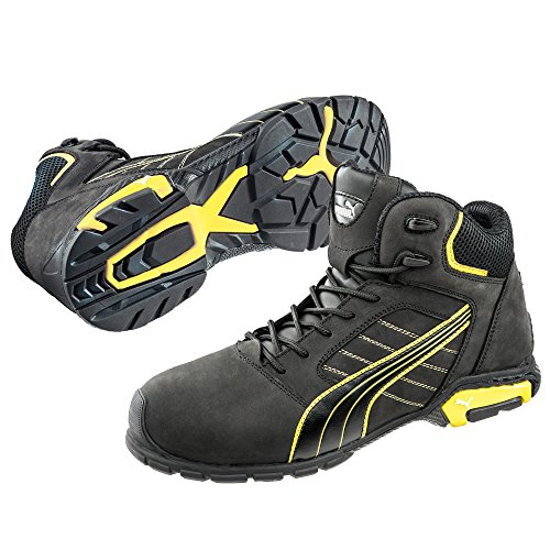 Puma Safety S3 Amsterdam Noir Leather Mens jaune Footwear Safety Boots SRC Mid qSr8qw