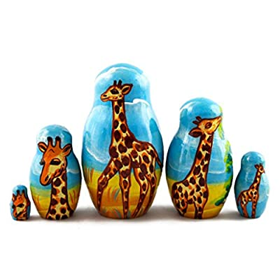 Matryoshka Dolls Giraffes Set 5 pcs Unique Animal Figures: Toys & Games