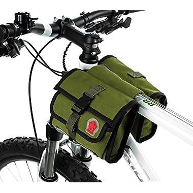ArcEnCiel Bike Bag Front Bicycle Handlebar Bag Pannier Basket - Army Green